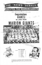 1969 Marion Giants football - commemorative section from the News Herald